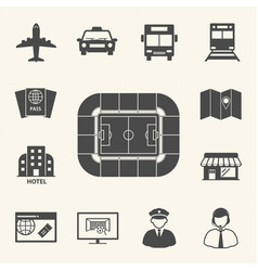soccer symbol icons access to football stadium vector image