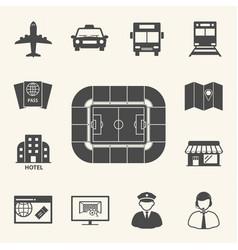 Soccer symbol icons access to football stadium vector