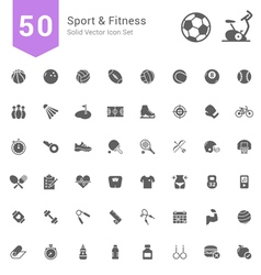 Sport and fitness solid icon set vector