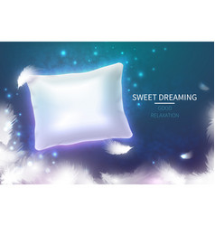 sweet dreaming concept with 3d realistic white vector image