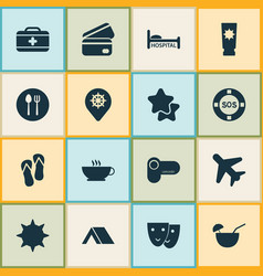 tourism icons set with tent hospital label and vector image