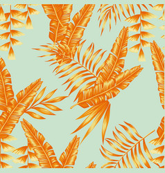 tropical leaves seamless pattern light blue vector image