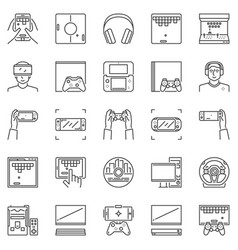 Video game outline icons set pc console vector