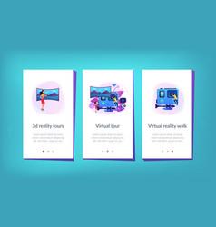 Virtual tour app interface template vector