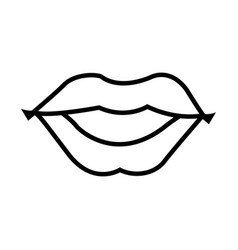 Woman lips sensual comic style outline vector