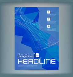 abstract flyer template with blue polygons vector image