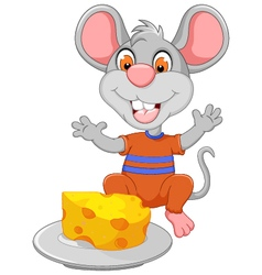 funny mouse cartoon eating cheese vector image vector image