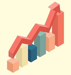 Red arrow growth with bar chart isometric vector image vector image