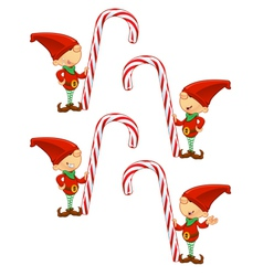 Red Elf Holding Candy Cane vector image vector image