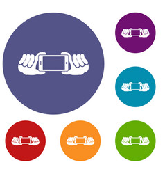 two hands holding mobile phone icons set vector image vector image