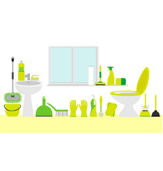 Bathroom cleaning products vector