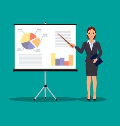 businesswoman making presentation vector image vector image