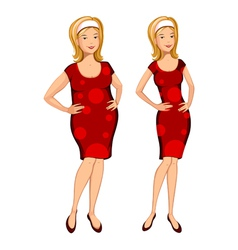 Fat and thin woman vector