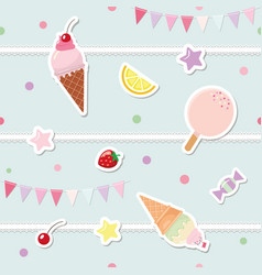 festive seamless pattern with sweets and garlands vector image
