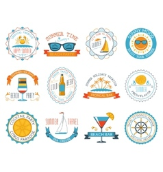 Summer vacation emblems stickers set flat vector image vector image