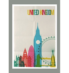 Travel United Kingdom landmarks skyline vintage vector image vector image