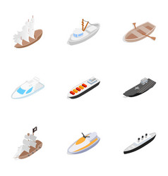 water transport icons isometric 3d style vector image