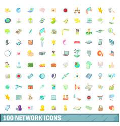 100 network icons set cartoon style vector