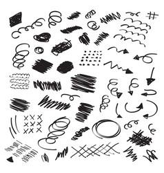 black ink random hand drawn scribbles set vector image