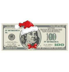 Dollar bill for Christmas vector image vector image