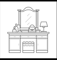 dressing table in thin line vector image