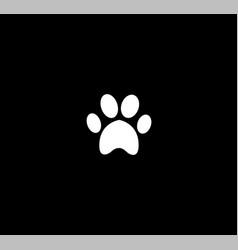 white animal paw print icon isolated on black vector image