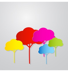 Colorful Trees Cut From Paper on Grey Backgr vector image vector image