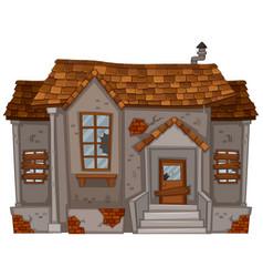 old house with broken windows and door vector image vector image