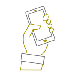 yellow line hand with smartphone technology object vector image