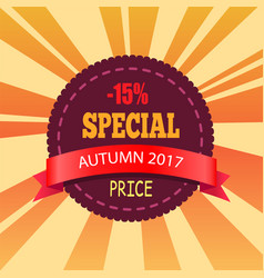 15 special autumn price promo label design vector