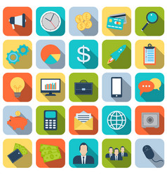 25 business icons set in flat style vector image
