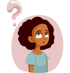 African teen girl having questions about vector