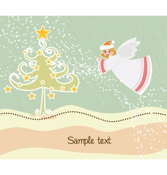 Angel with tree vector