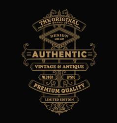 antique frame label vintage western typography vector image