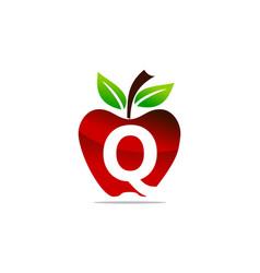 Apple letter q logo design template vector