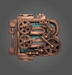 B rusted letter with gears vector