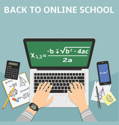 back to online school flat design vector image