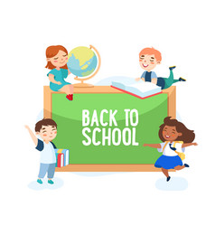 back to school concept boys and girls with globe vector image