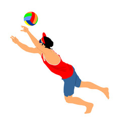 Beach volleyball player man play volleyball vector