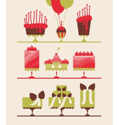 beautiful cakes and cupcakes vector image