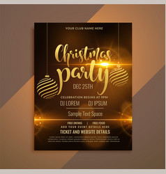 beautiful shiny christmas party flyer template vector image