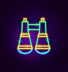 binoculars neon sign vector image