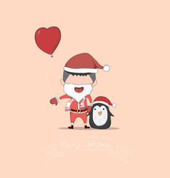 boy and penguin cute christmas character drawing vector image
