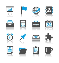Business and office icons reflection vector image