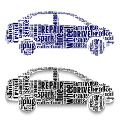 cars made from clouds of words vector image