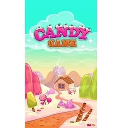Cartoon candy world with title vector
