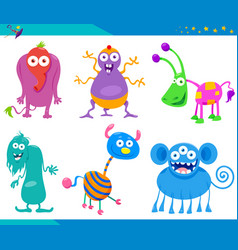 cartoon fantasy monster characters collection vector image