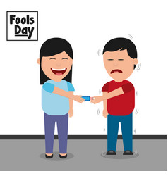 Cartoon woman smiling and joke man fools day vector