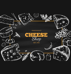 Cheese collection hand drawn 3 vector