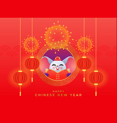 chinese new year 2020 cute rat costume card vector image